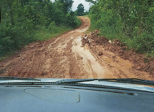 Sister Mary Christine Pendleton shares a photo of the muddy roads the group of travelers in Belize used.