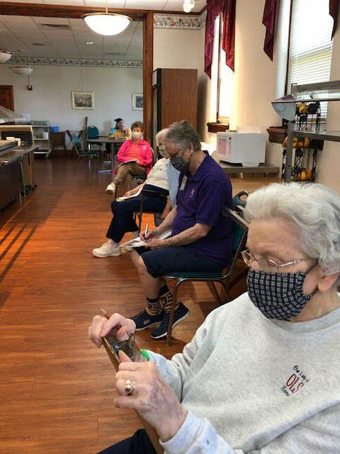 Sister in St. Louis play trivia during a Wacky Wednesday. This helps them keep active during social distancing.